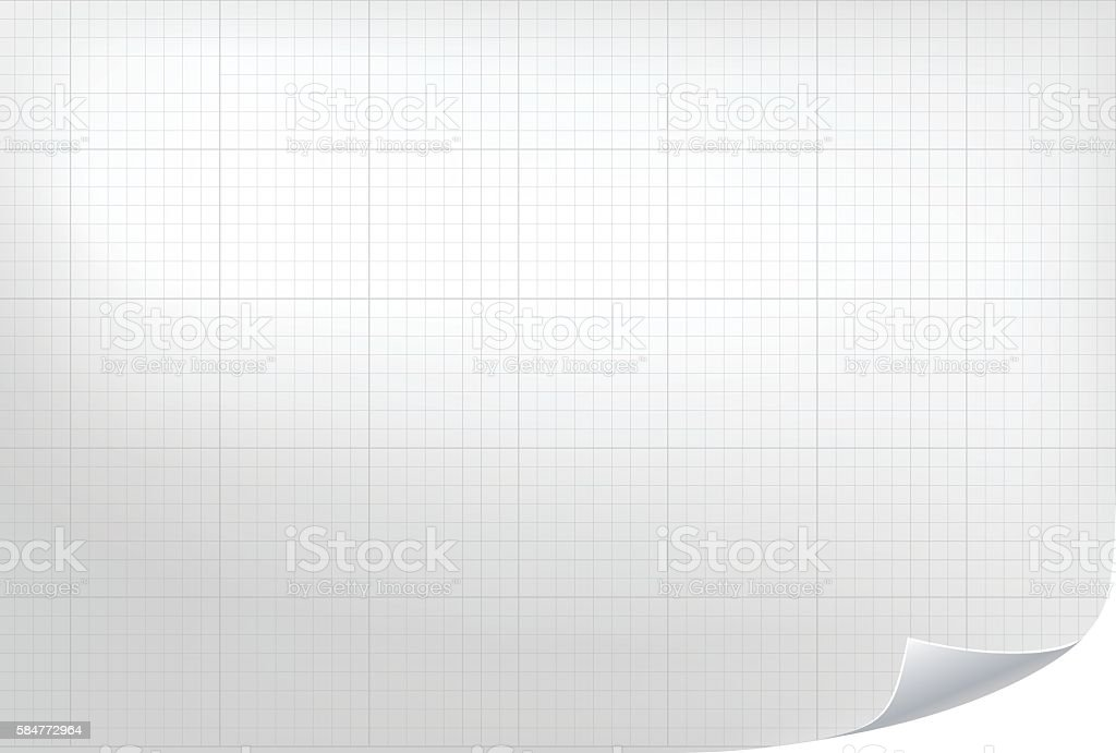 Technical grid background. Realistic blank paper vector art illustration