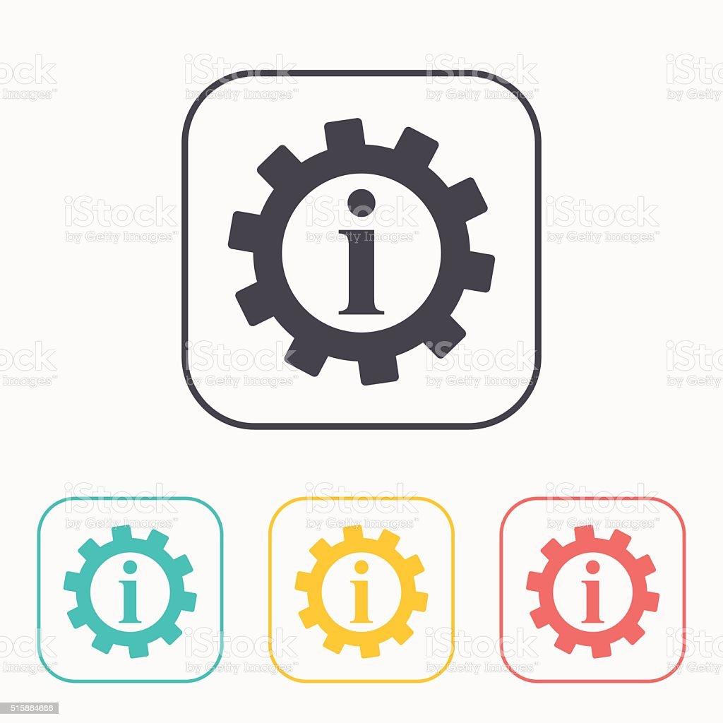 Technical information web color icon set, vector illustration vector art illustration