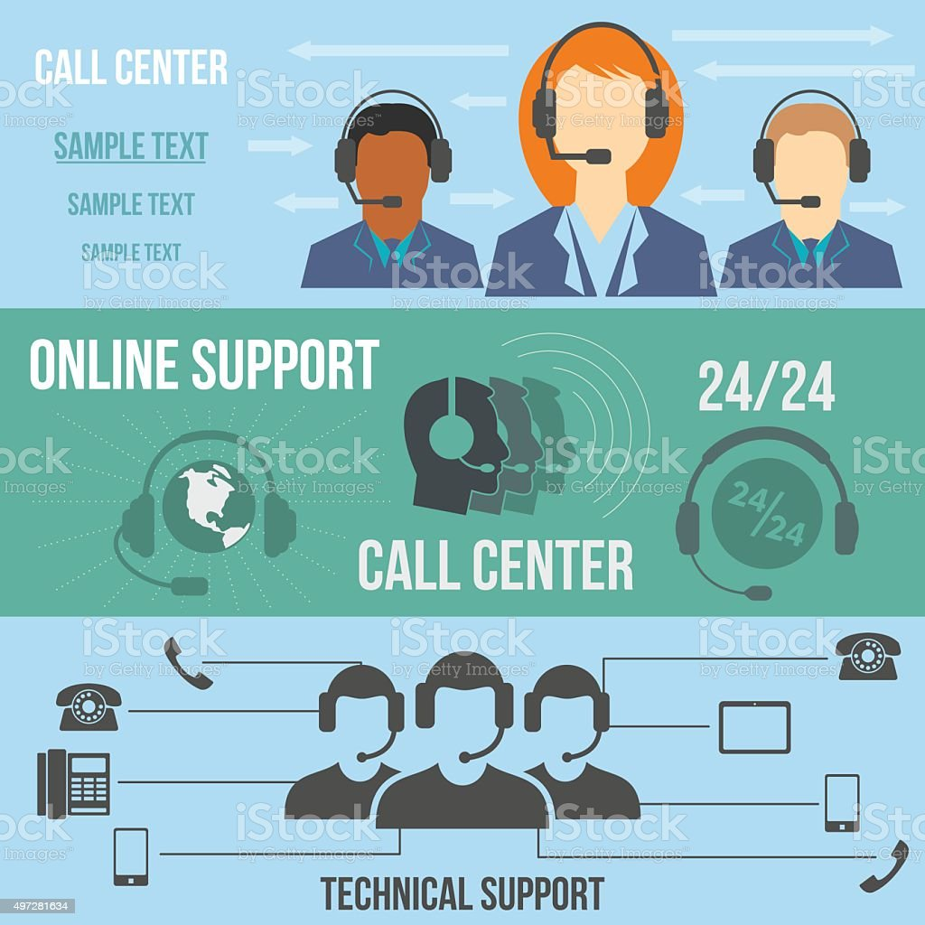 Technical support call center banners vector art illustration
