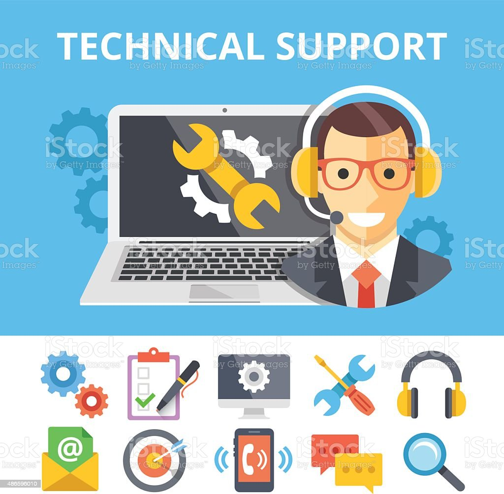 Technical support flat illustration and flat technical support icons set vector art illustration
