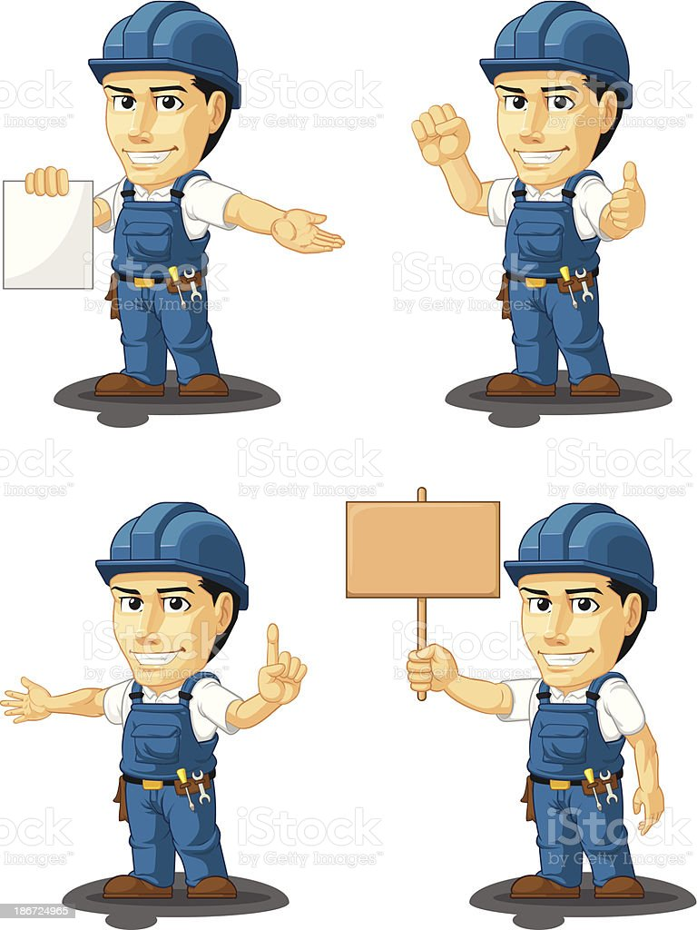 Technician or Repairman Customizable Mascot 12 royalty-free stock vector art