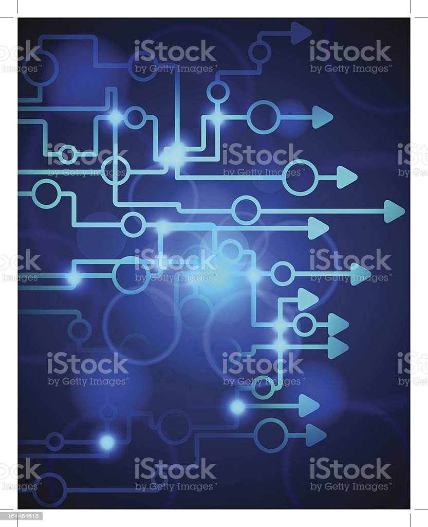 Technological blue arrow background royalty-free stock vector art