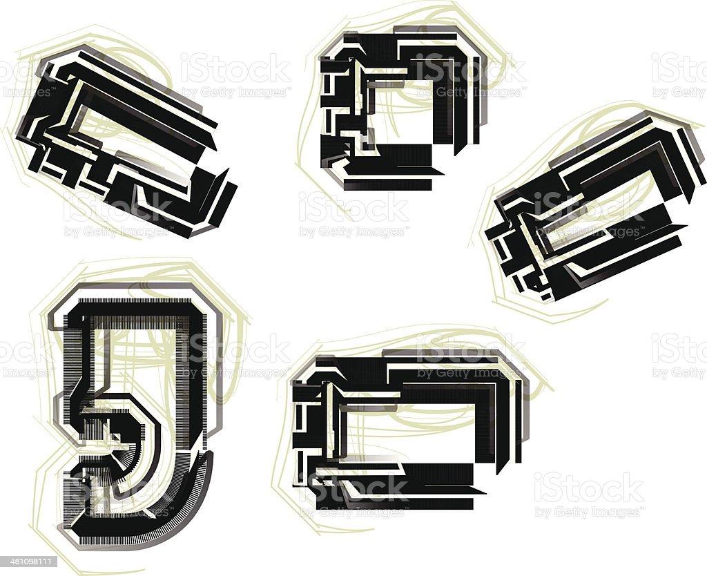 technological font symbol royalty-free stock vector art