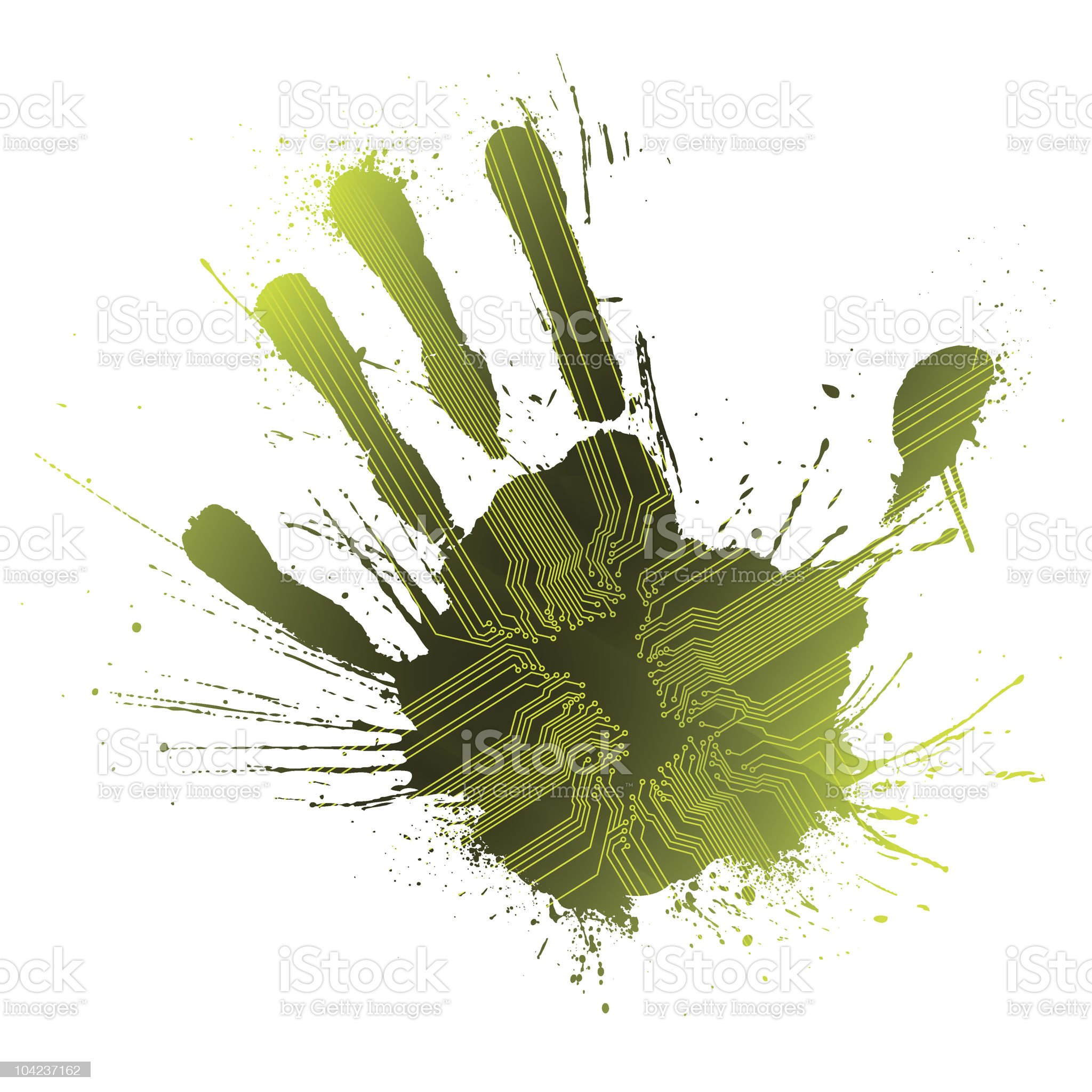 Technological green splatter handprint concept royalty-free stock vector art