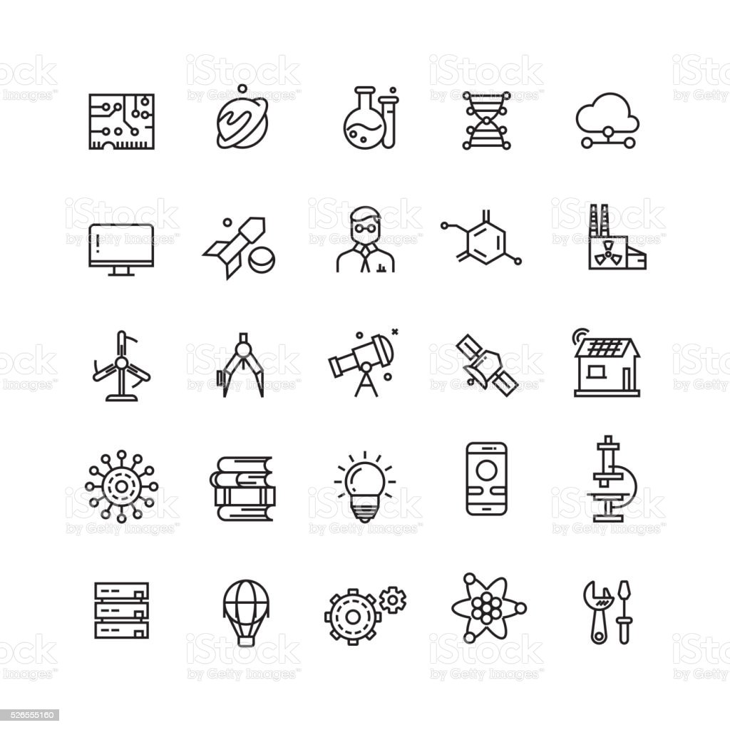 Technologies and science vector line icons vector art illustration