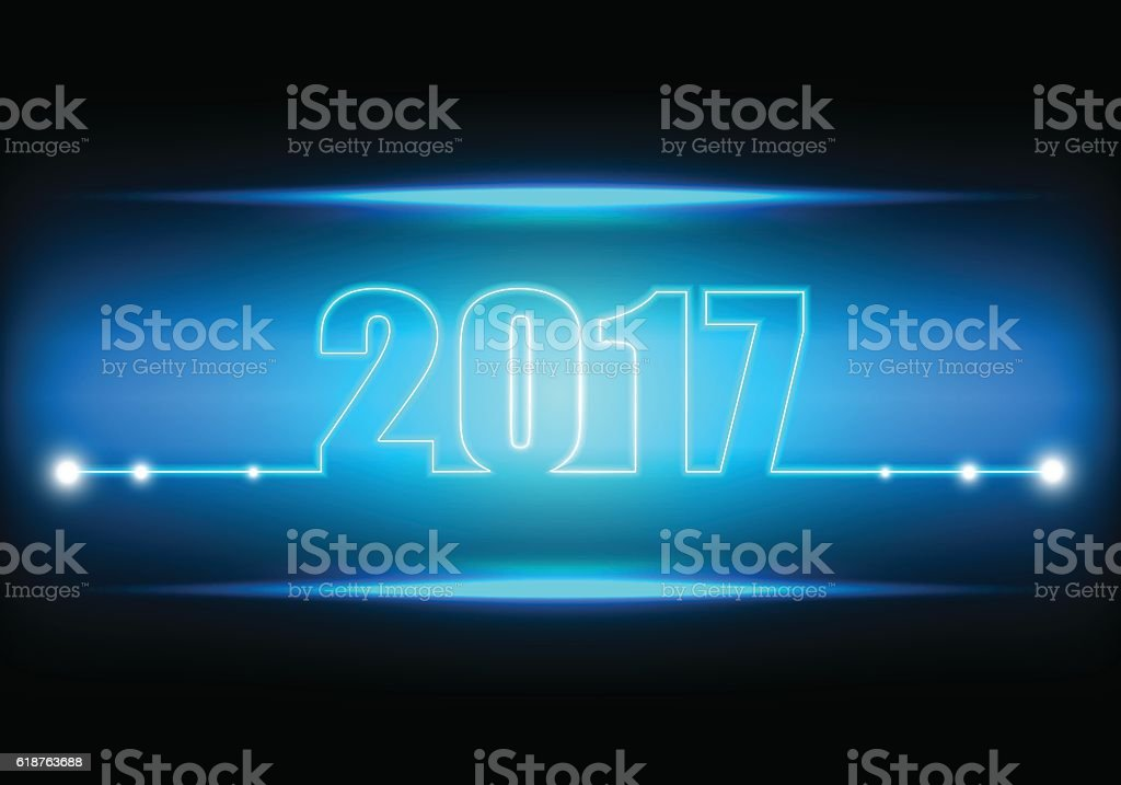 Technology abstract background for happy new year 2017 vector art illustration