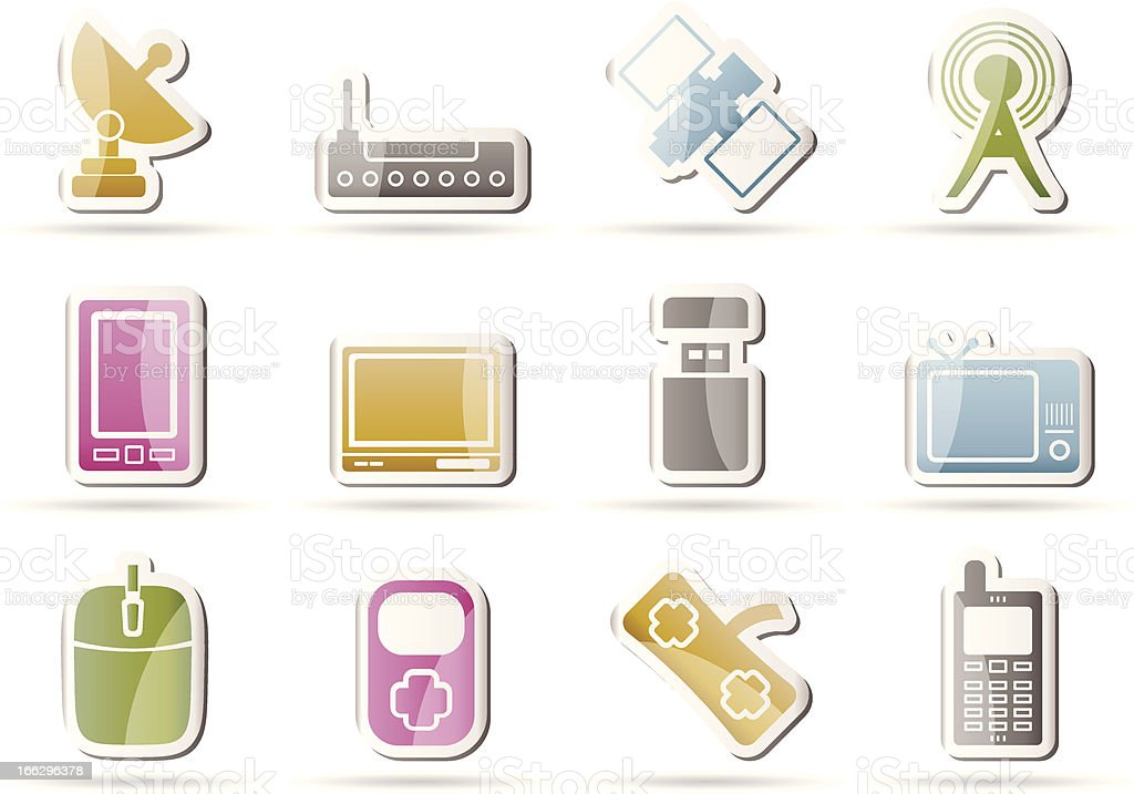 technology and Communications icons royalty-free stock vector art