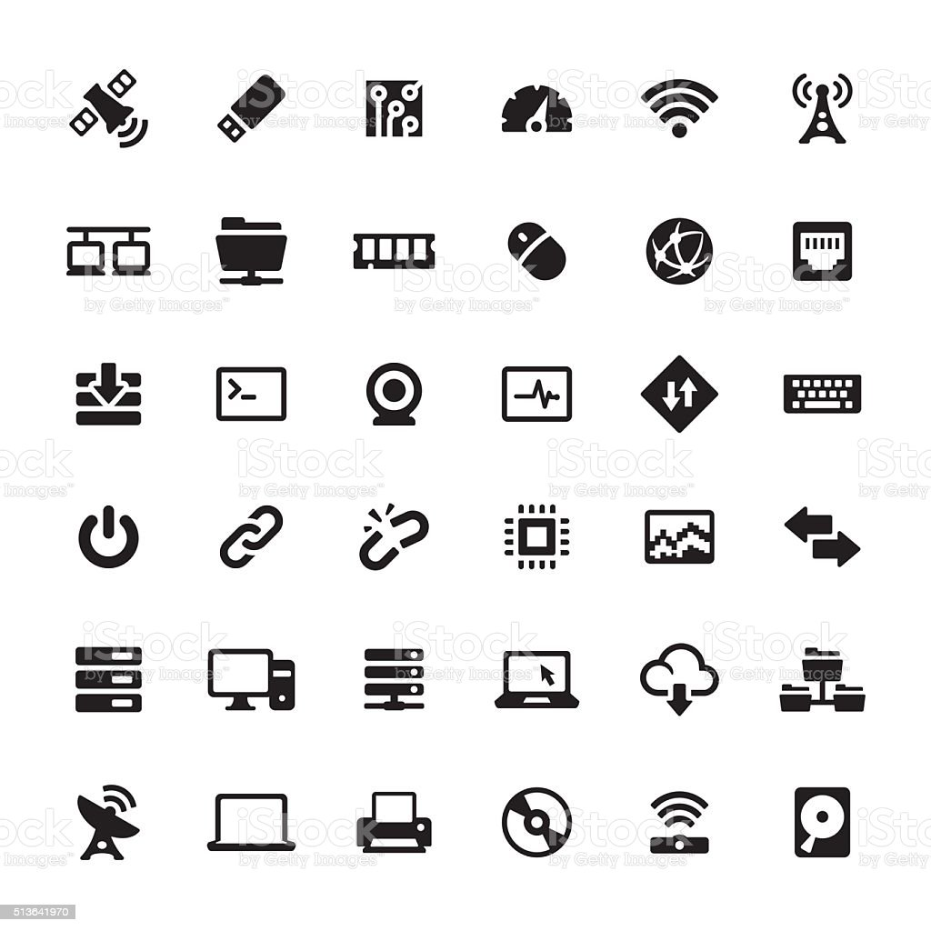 Technology and Computers vector symbols and icons vector art illustration