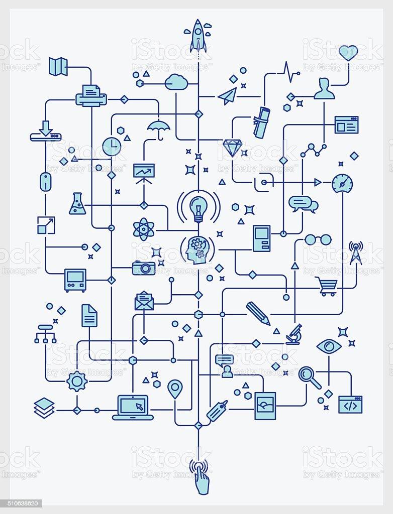 Technology and creativity process theme lineart vector art illustration
