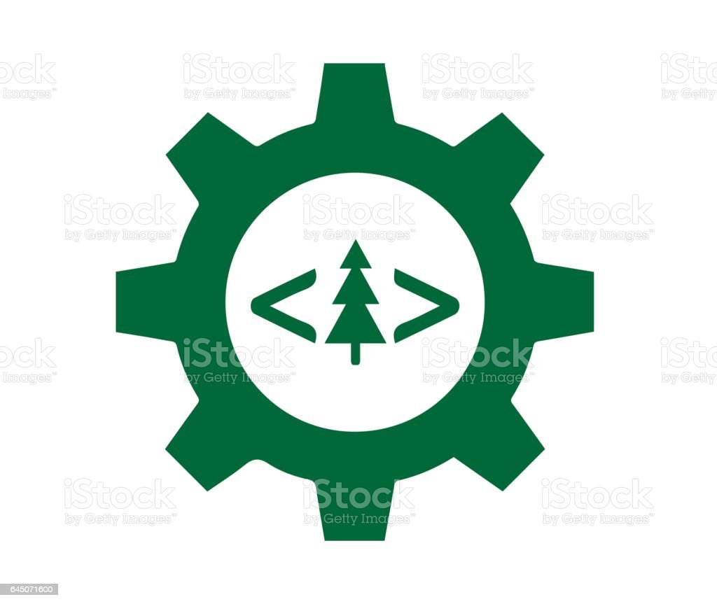 Technology and Forest Industry vector art illustration