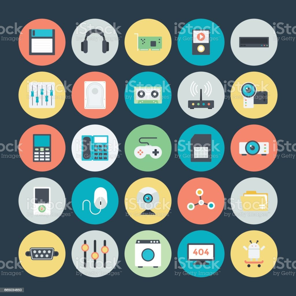 Technology and Hardware Colored Vector Icons 2 vector art illustration