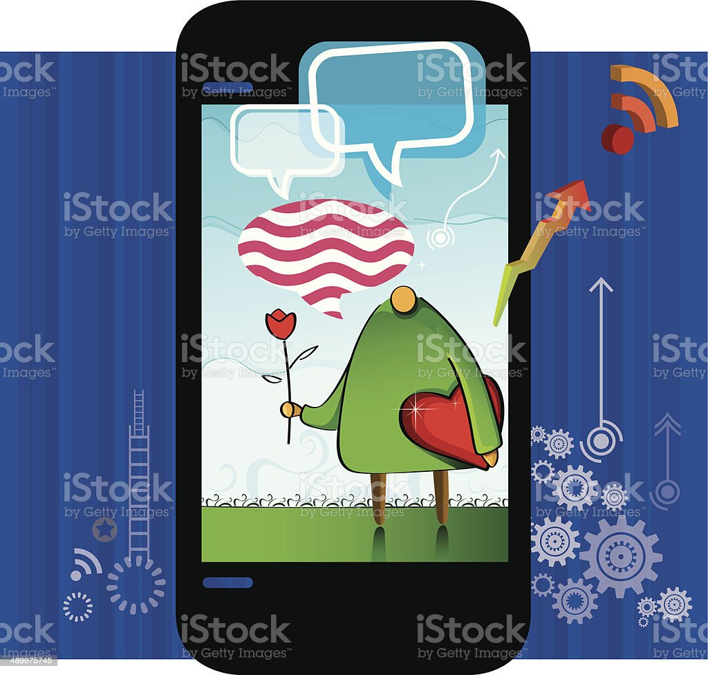 Technology and Love royalty-free stock vector art