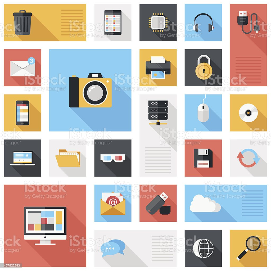 Technology and media icons vector art illustration