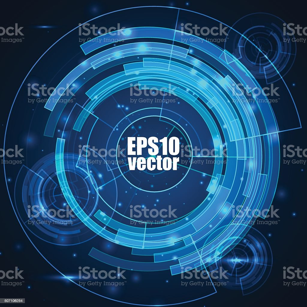 Technology background with HUD elements vector art illustration