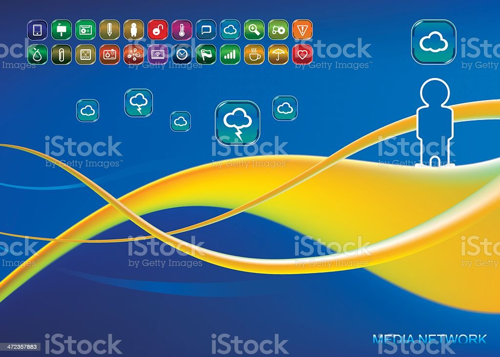 technology background with set of app icons vector art illustration