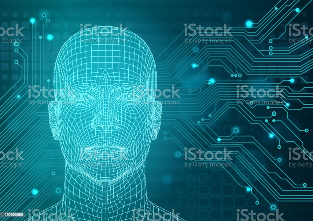 Technology background with three-dimensional head royalty-free stock vector art