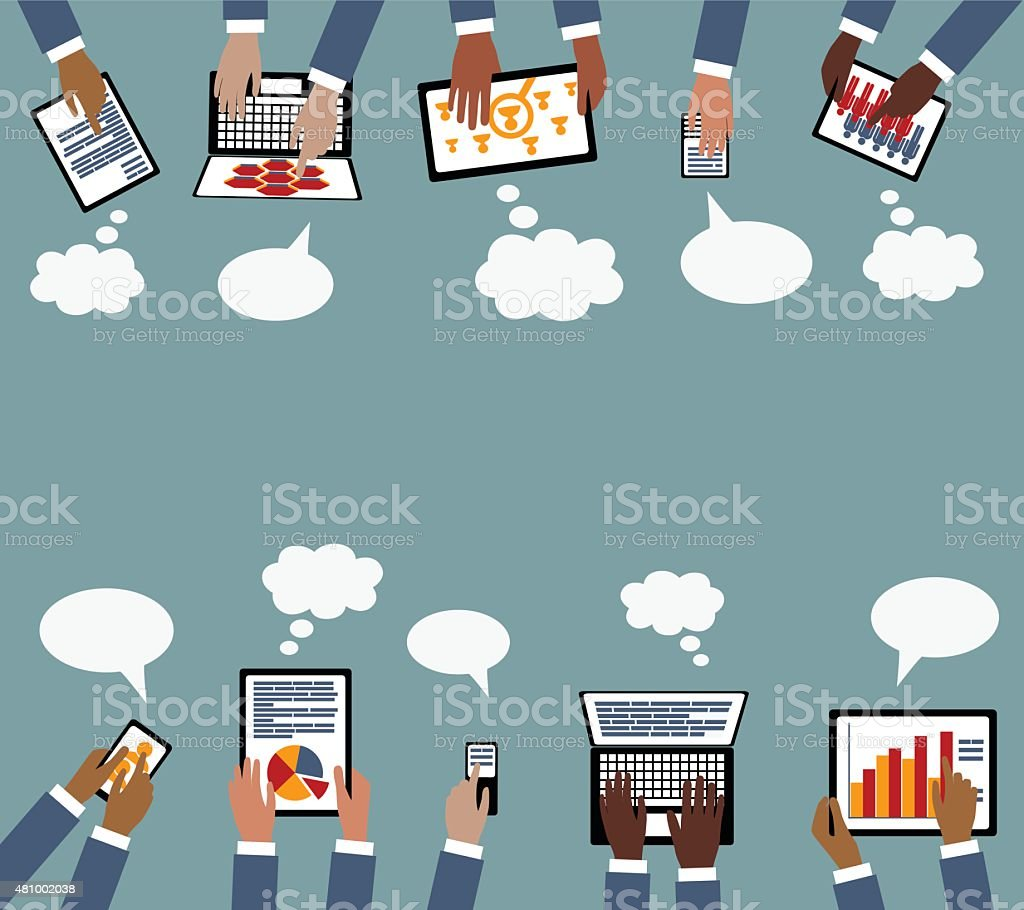 Technology Business Collaboration Multi Racial hands with Devices vector art illustration