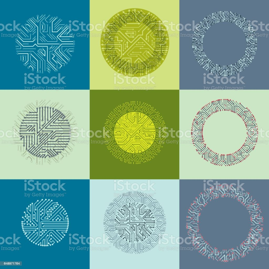Technology communication cybernetic elements collection with arrows. Set of vector abstract circuit boards in the shape of circles. vector art illustration