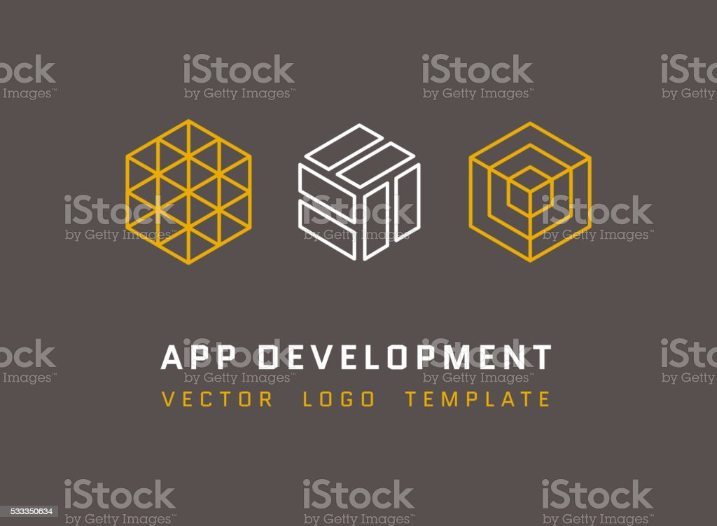 Technology, development, architecture, game studio vector logos set vector art illustration