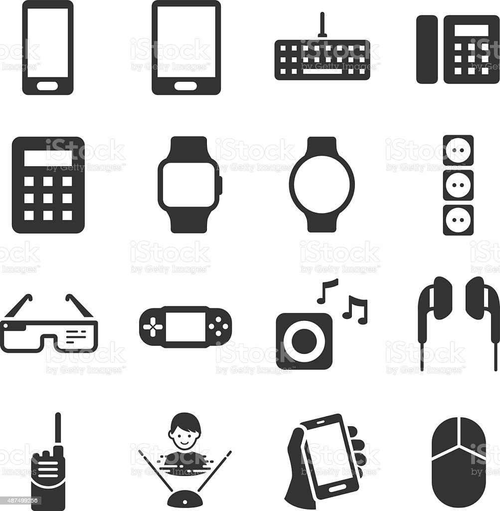 Technology device icons vector art illustration