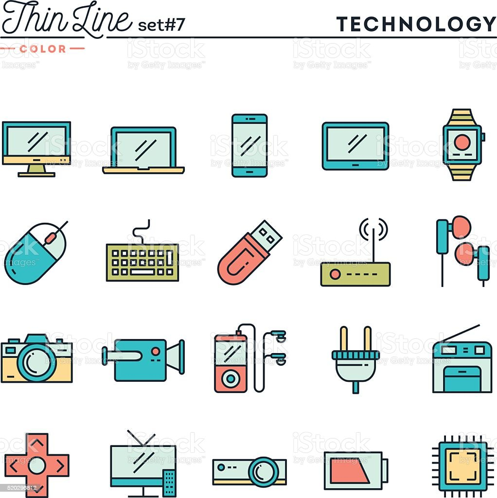 Technology, devices, gadgets and more, thin line color icons set vector art illustration