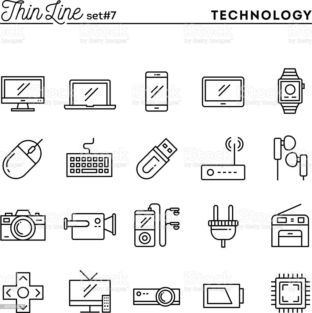 Technology, devices, gadgets and more, thin line icons set vector art illustration