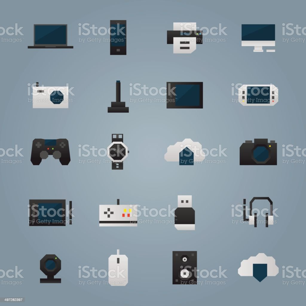 Technology devices icons vector art illustration