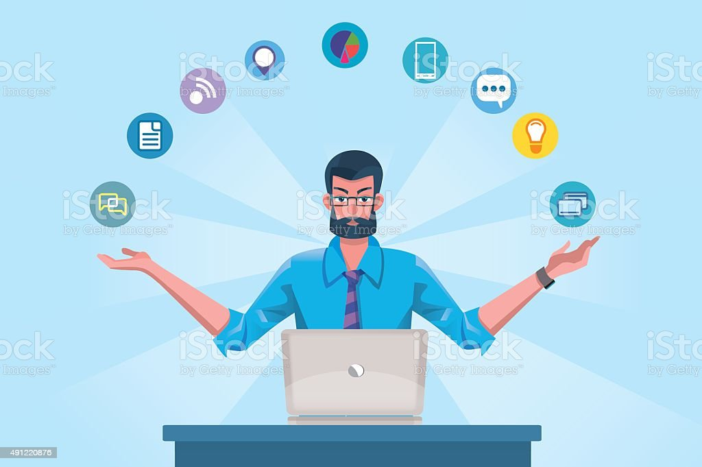 Technology Expert Man vector art illustration