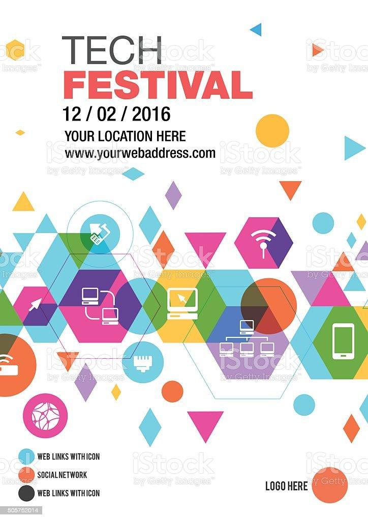 Technology Fest poster design vector art illustration