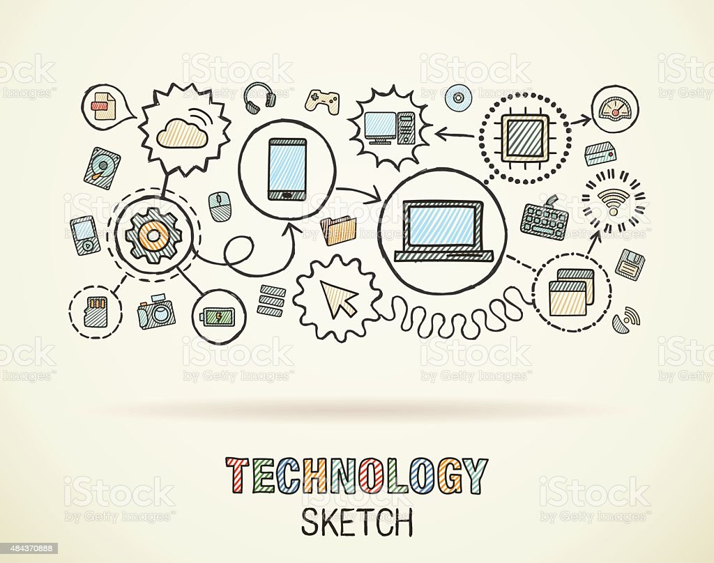 Technology Hand Draw Integrated Doodle Icons Set Vector ...