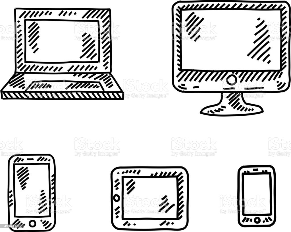 Technology Icons Drawing vector art illustration