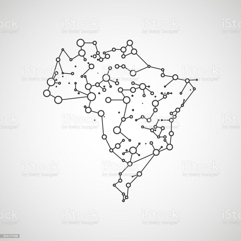 Technology image of Brazil vector art illustration