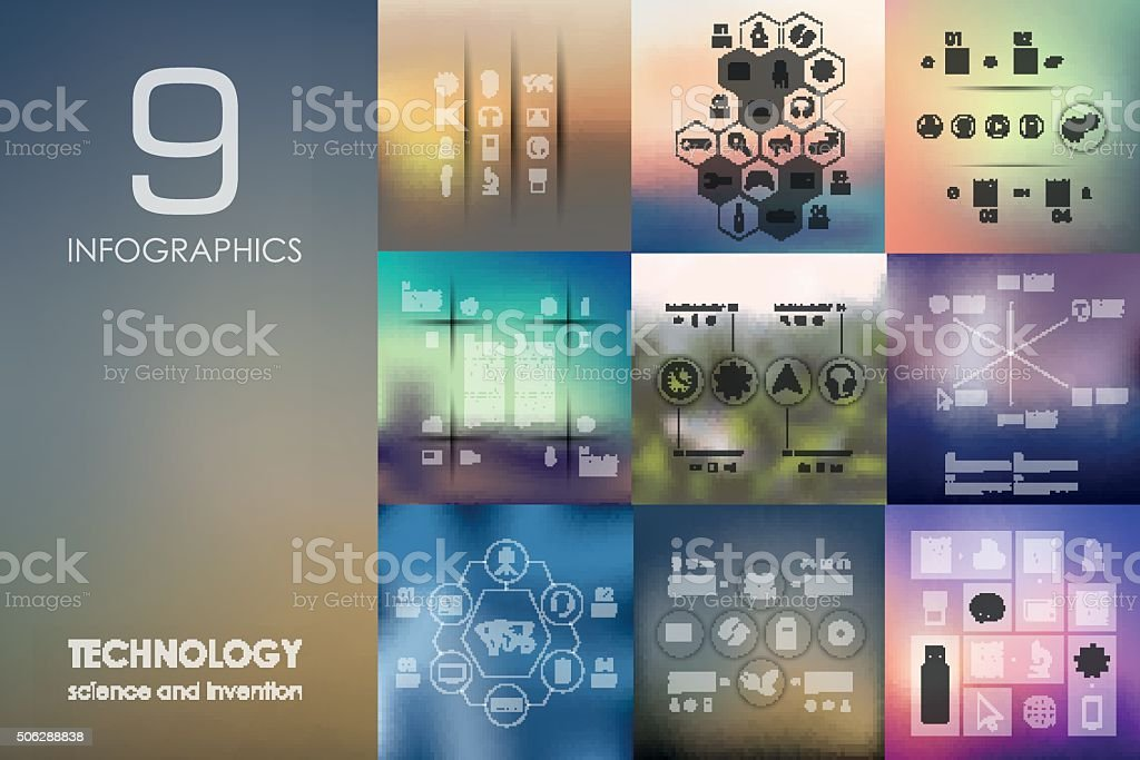 technology infographic with unfocused background vector art illustration