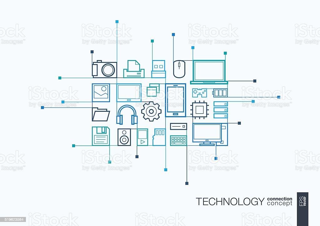 Technology integrated thin line symbols vector art illustration
