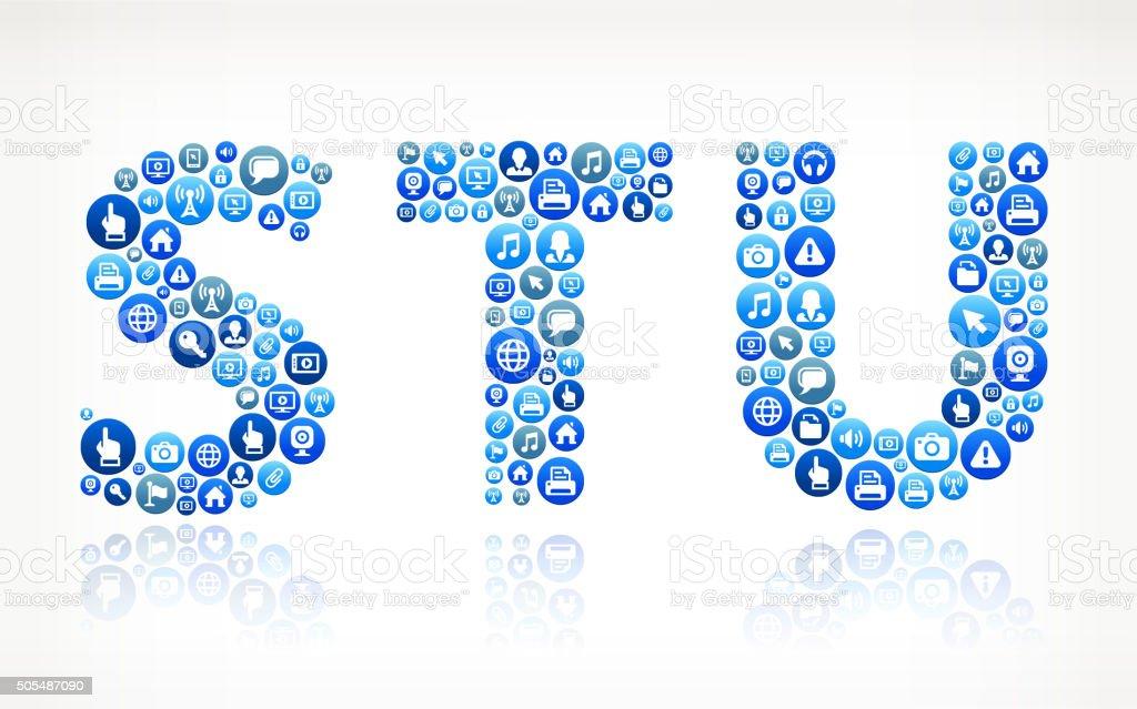 STU Technology Internet and Media Blue Button Pattern vector art illustration