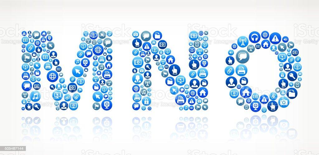 MNO Technology Internet and Media Blue Button Pattern vector art illustration