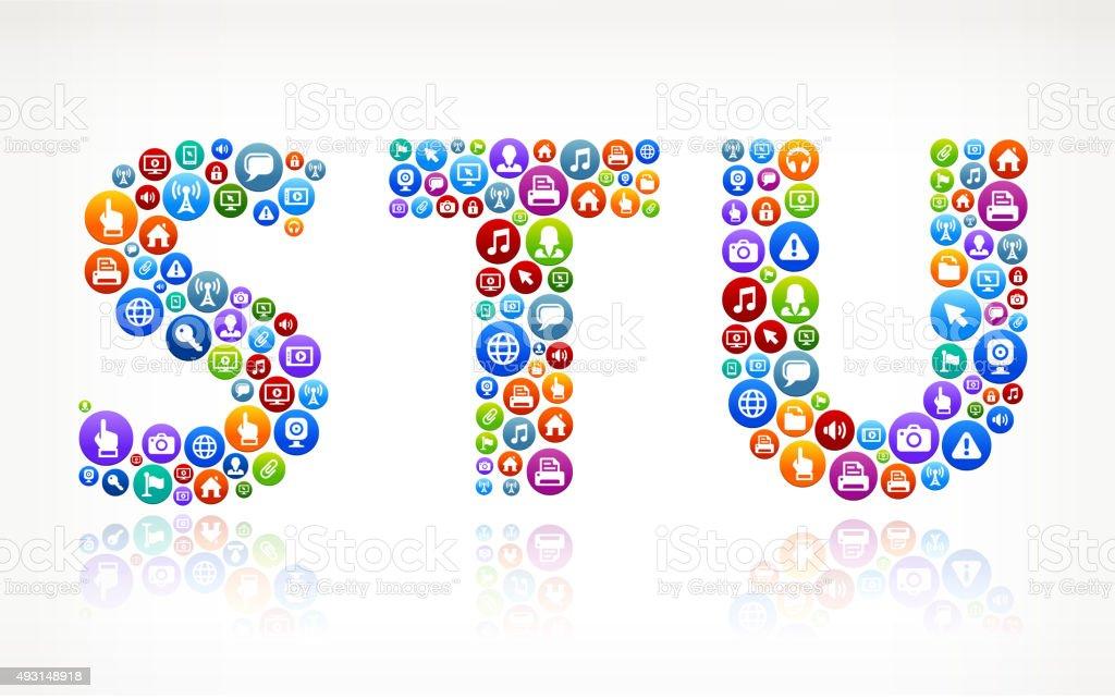 STU Technology Internet and Web Media Icon Pattern vector art illustration