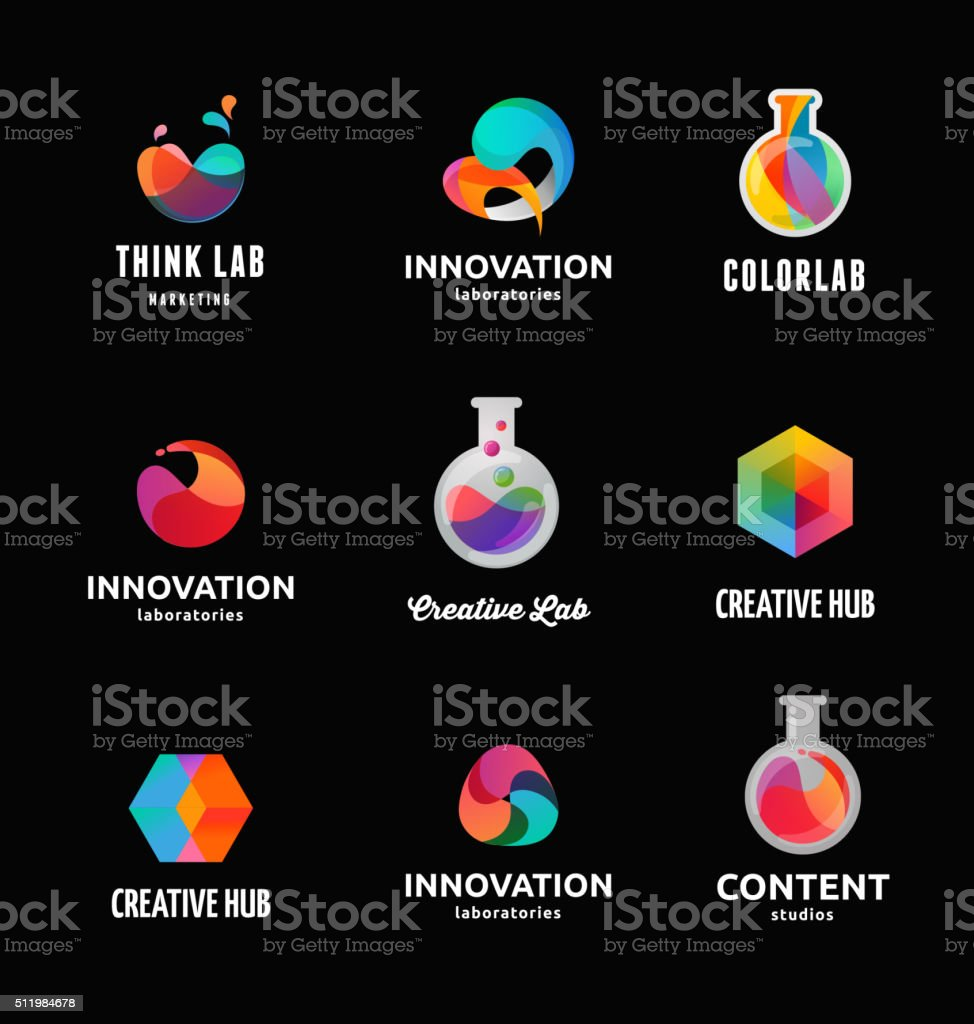 Technology, laboratory, creativity innovation and science abstract icons vector art illustration
