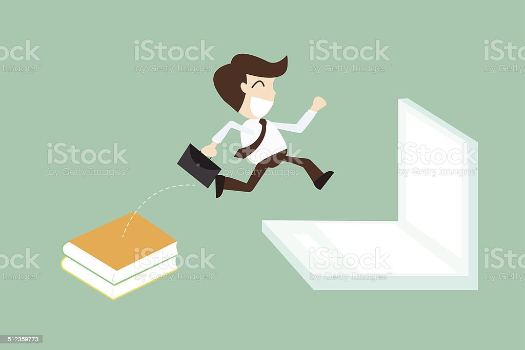 technology migration with businessman jumping book to laptop vector art illustration