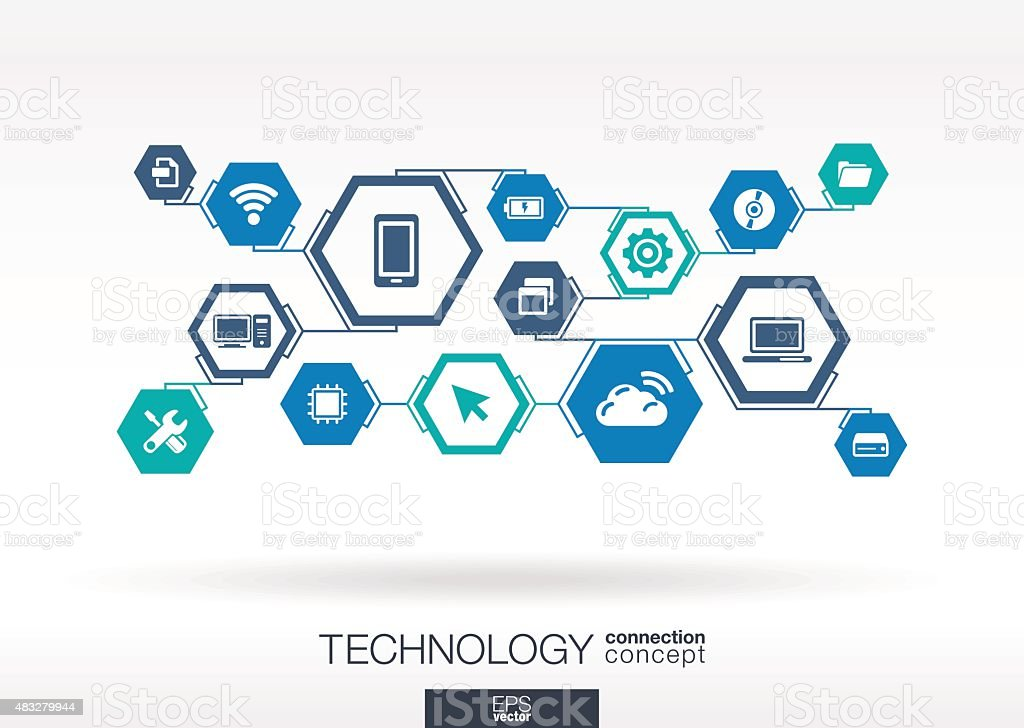 Technology network. Hexagon abstract background with lines, polygons, integrate icons. vector art illustration
