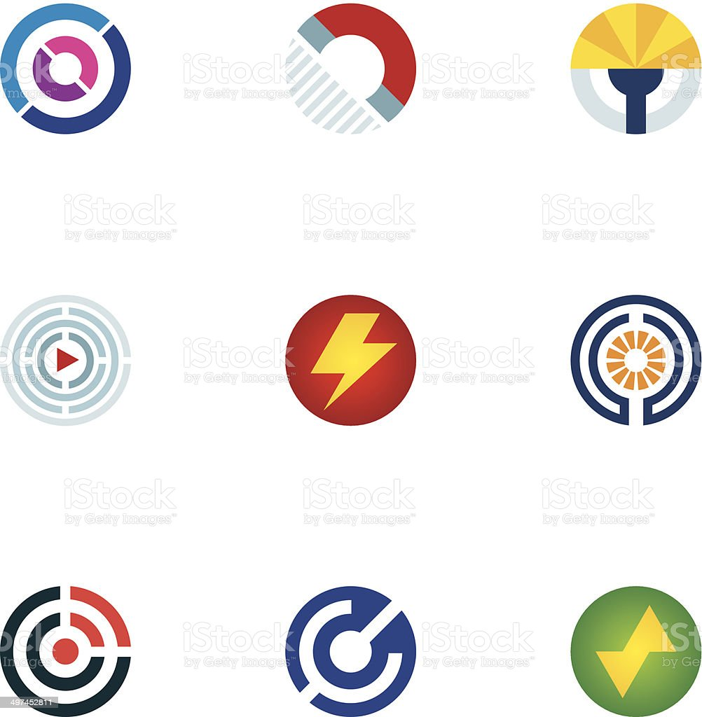 Technology power abstract circle signal wave science logo icons set vector art illustration
