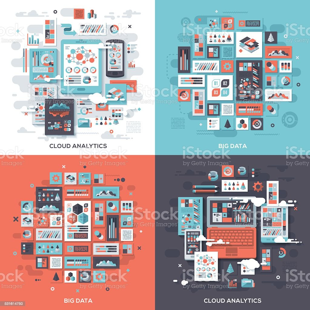 Technology Services Concepts vector art illustration