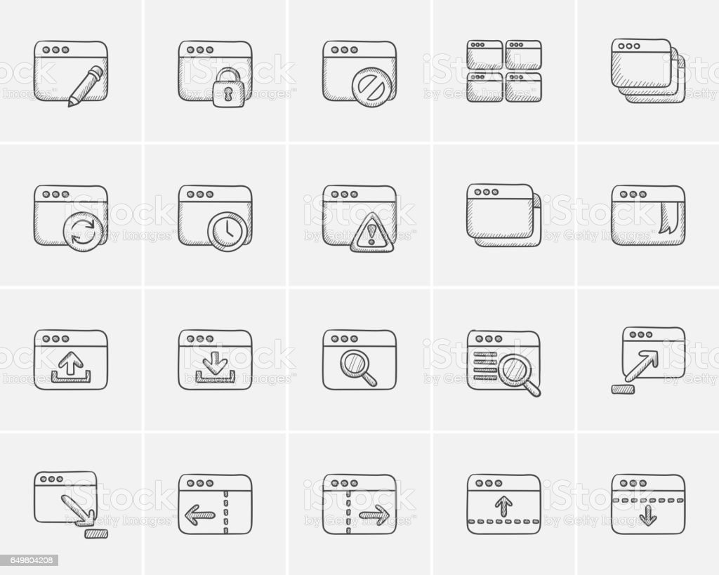 Technology sketch icon set vector art illustration