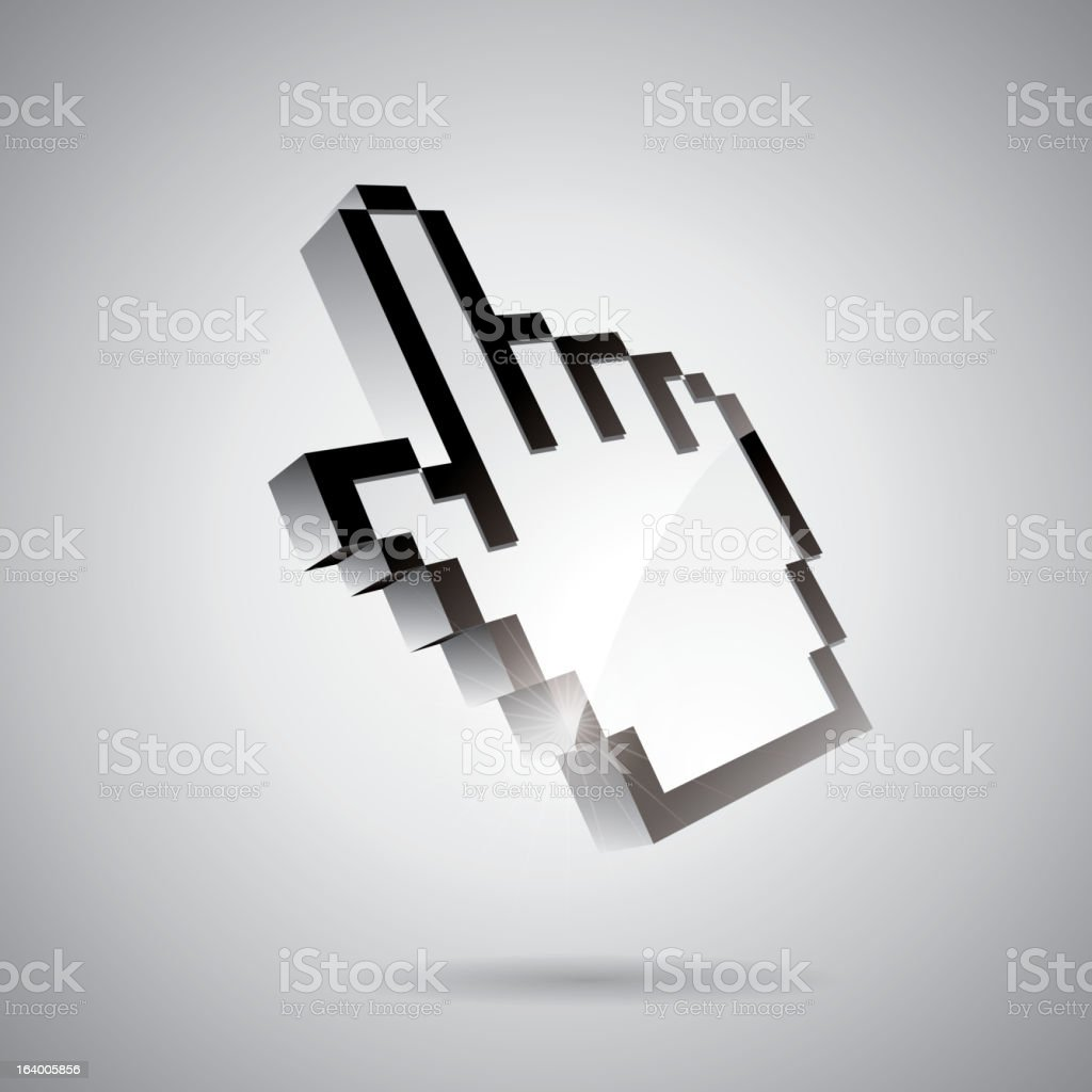 Technology styled illustration with shiny had pointer on gray background royalty-free stock vector art