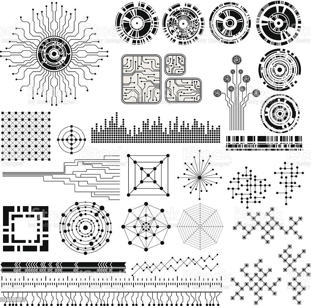technology theme design elements vector art illustration