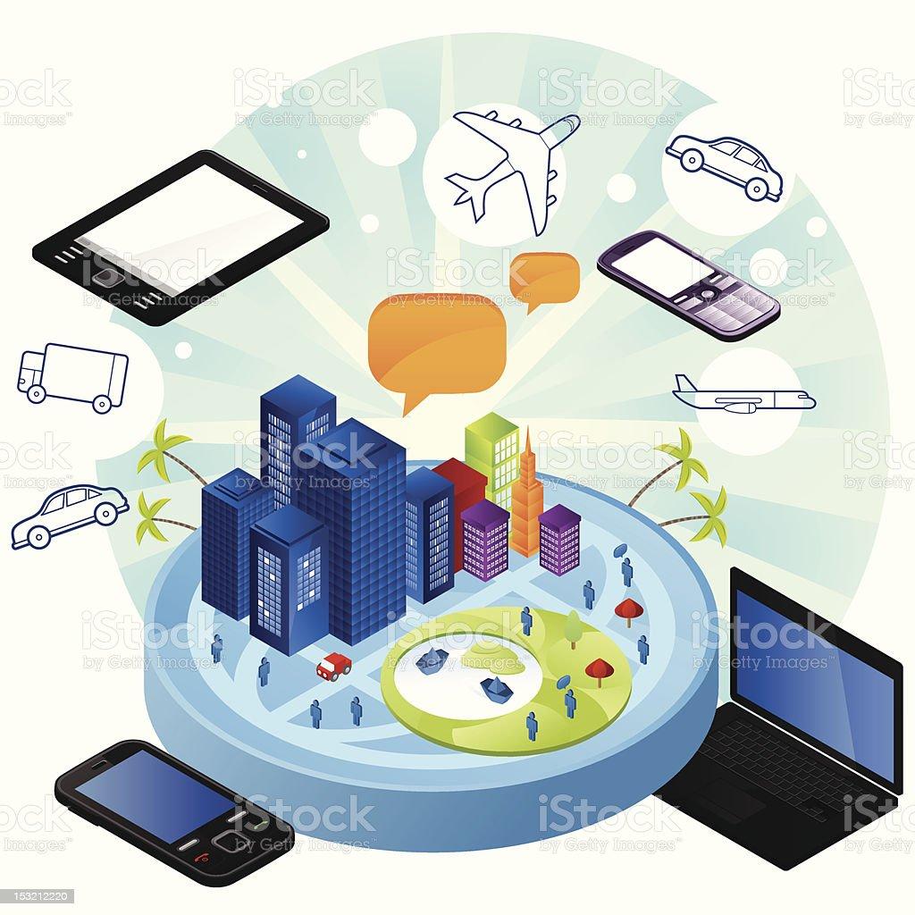 Technology Transportation vector art illustration