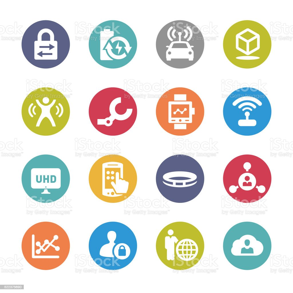 Technology Trends For Business Icons - Circle Series vector art illustration