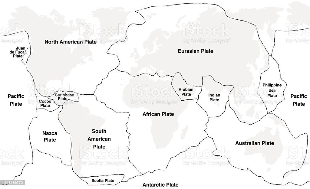 Tectonic Plates Names vector art illustration