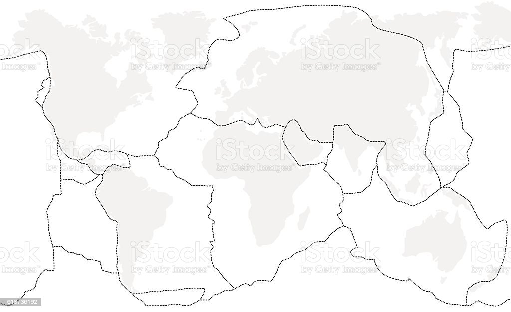Tectonic Plates Unlabeled vector art illustration