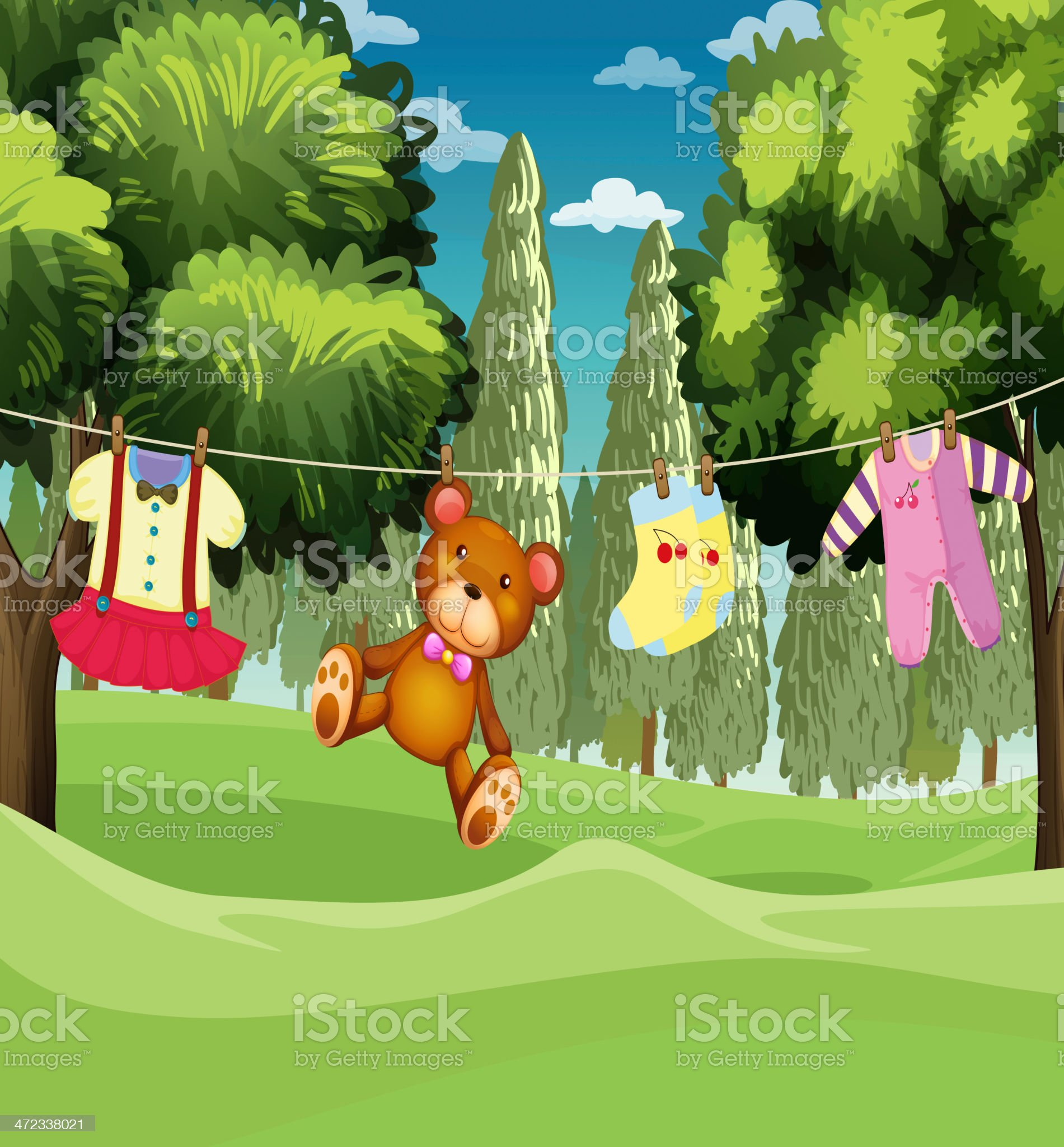 teddy bear and clothes hanging royalty-free stock vector art